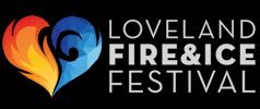Heart-shaped logo with red flames making up the left side of the heart and blue ice making up the right side of the heart, text reads: Loveland Fire & Ice Festival